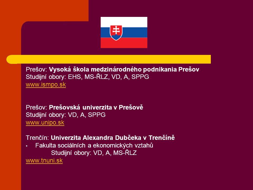 Prešov: Vysoká škola medzinárodného podnikania Prešov
