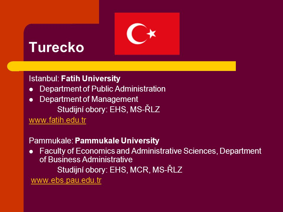 Turecko Istanbul: Fatih University Department of Public Administration