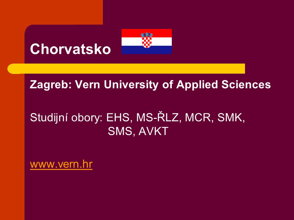 Chorvatsko Zagreb: Vern University of Applied Sciences