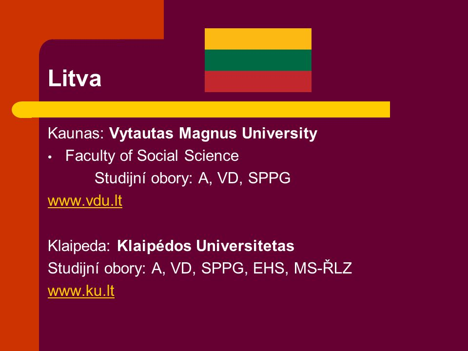 Litva Kaunas: Vytautas Magnus University Faculty of Social Science