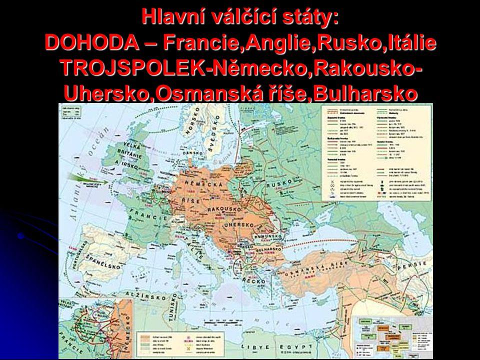 Hlavní válčící státy: DOHODA – Francie,Anglie,Rusko,Itálie TROJSPOLEK-Německo,Rakousko-Uhersko,Osmanská říše,Bulharsko