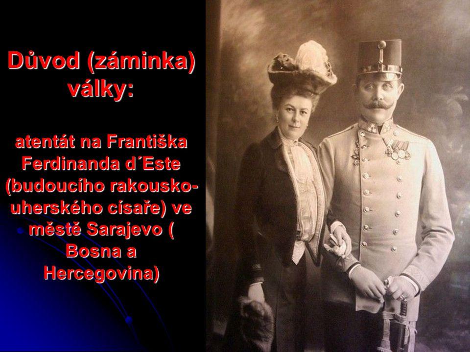 Důvod (záminka) války: atentát na Františka Ferdinanda d´Este (budoucího rakousko-uherského císaře) ve městě Sarajevo ( Bosna a Hercegovina)
