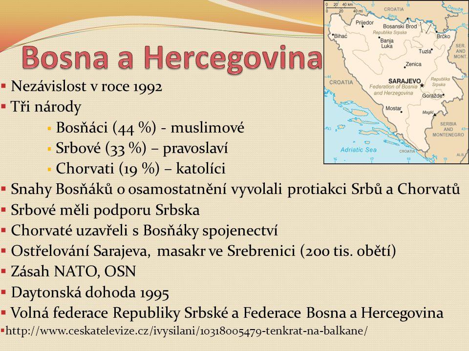 Bosna a Hercegovina Nezávislost v roce 1992 Tři národy