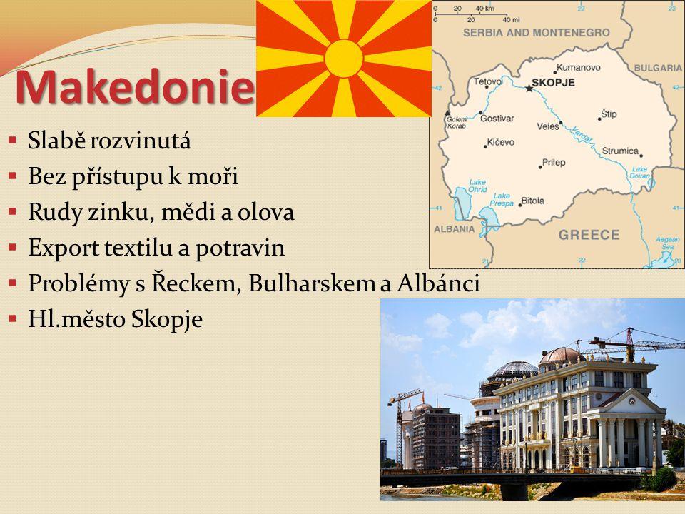 Makedonie Slabě rozvinutá Bez přístupu k moři Rudy zinku, mědi a olova