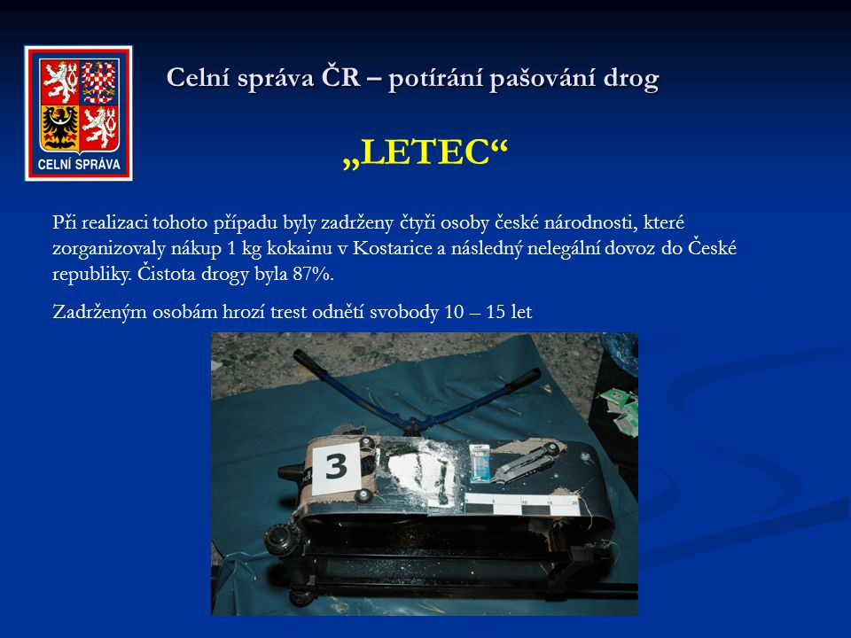 Celní správa ČR – potírání pašování drog