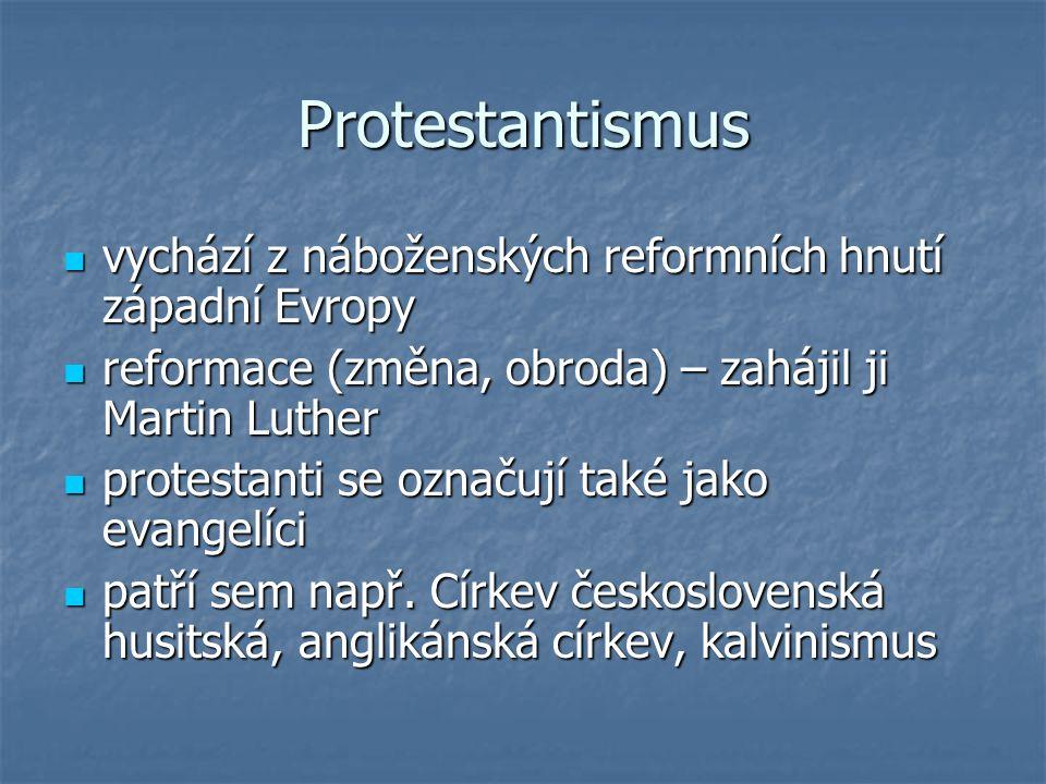 Protestantismus vychází z náboženských reformních hnutí západní Evropy