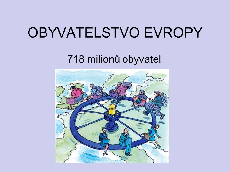 OBYVATELSTVO EVROPY 718 milionů obyvatel