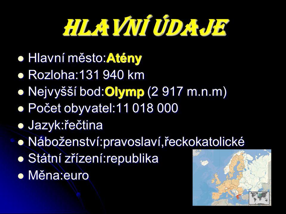 HLAVNÍ ÚDAJE Hlavní město:Atény Rozloha:131 940 km