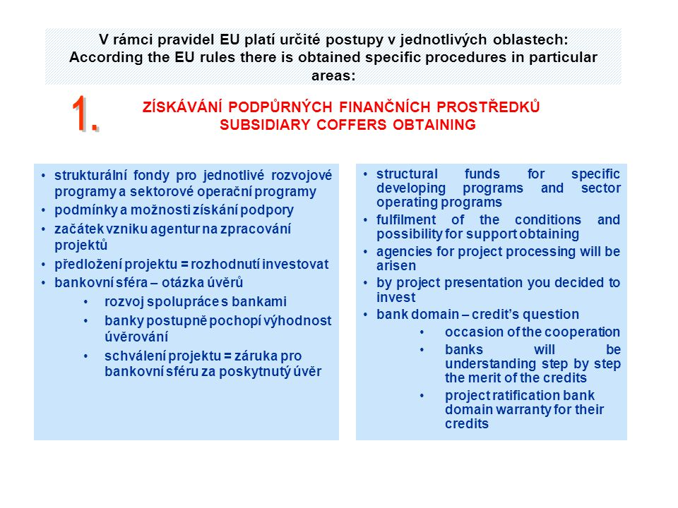 V rámci pravidel EU platí určité postupy v jednotlivých oblastech: According the EU rules there is obtained specific procedures in particular areas: