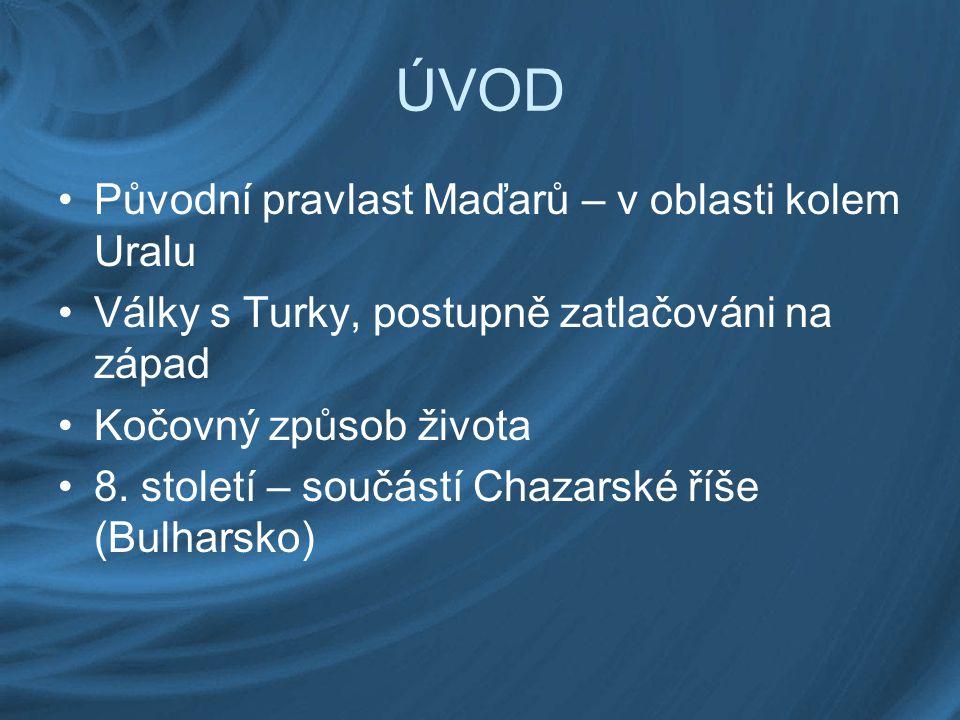 ÚVOD Původní pravlast Maďarů – v oblasti kolem Uralu