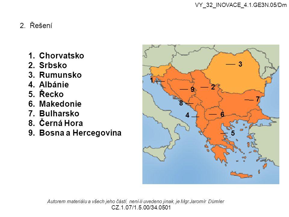 Chorvatsko Srbsko Rumunsko Albánie Řecko Makedonie Bulharsko