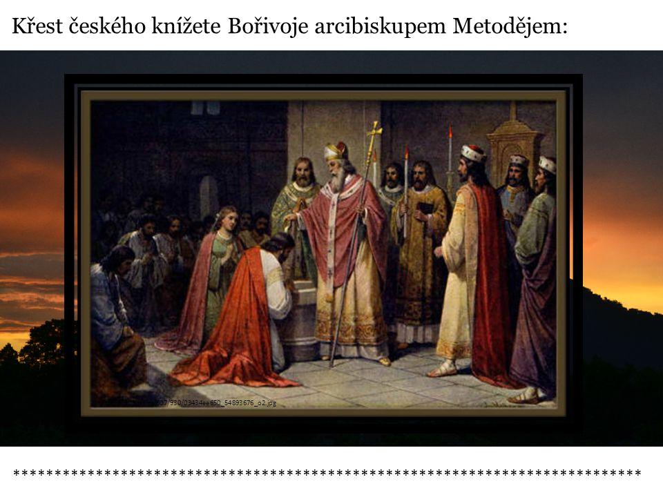 Křest českého knížete Bořivoje arcibiskupem Metodějem: