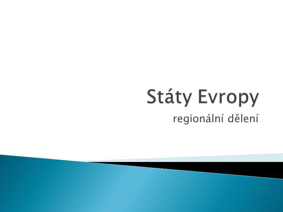 Státy Evropy regionální dělení