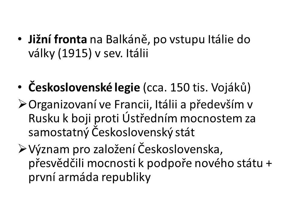 Jižní fronta na Balkáně, po vstupu Itálie do války (1915) v sev. Itálii