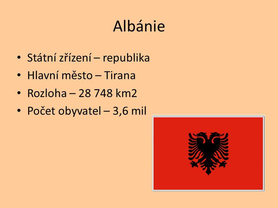 Albánie Státní zřízení – republika Hlavní město – Tirana