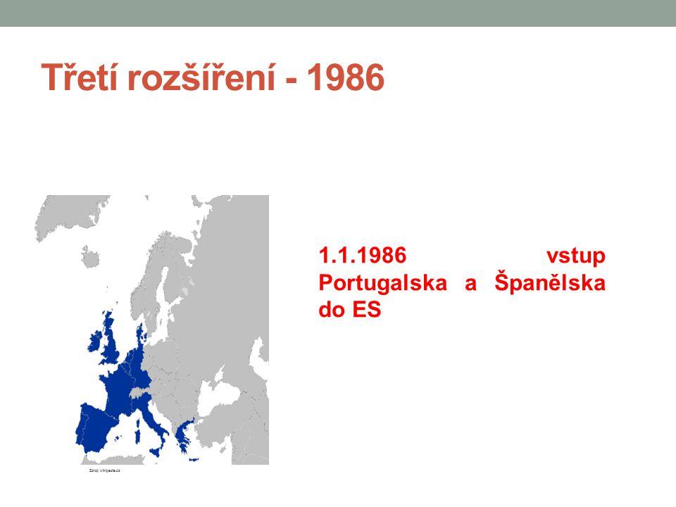 Třetí rozšíření - 1986 1.1.1986 vstup Portugalska a Španělska do ES