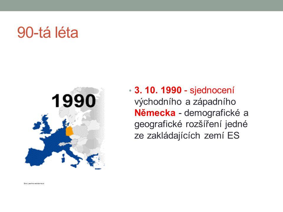 90-tá léta 3. 10. 1990 - sjednocení východního a západního Německa - demografické a geografické rozšíření jedné ze zakládajících zemí ES.