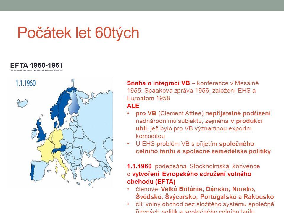 Počátek let 60tých EFTA 1960-1961. Zdroj: http://www.regjeringen.no/nb/sub/europaportalen/norge-og-eu/historikk.html id=692066.