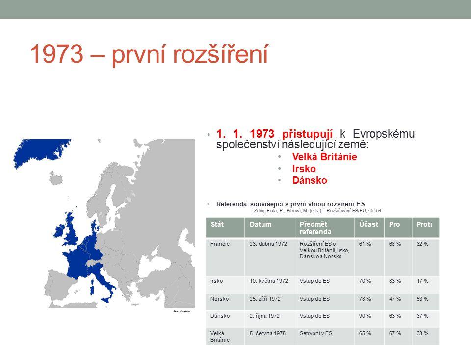 1973 – první rozšíření 1. 1. 1973 přistupují k Evropskému společenství následující země: Velká Británie.