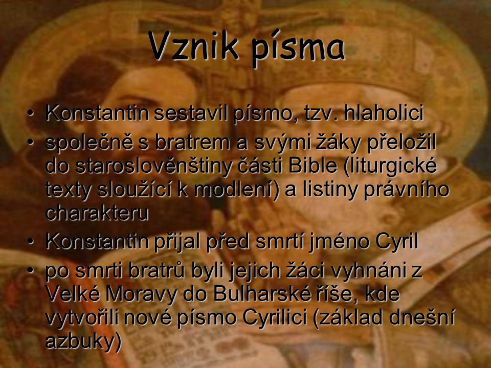 Vznik písma Konstantin sestavil písmo, tzv. hlaholici