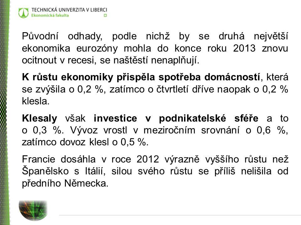Původní odhady, podle nichž by se druhá největší ekonomika eurozóny mohla do konce roku 2013 znovu ocitnout v recesi, se naštěstí nenaplňují.