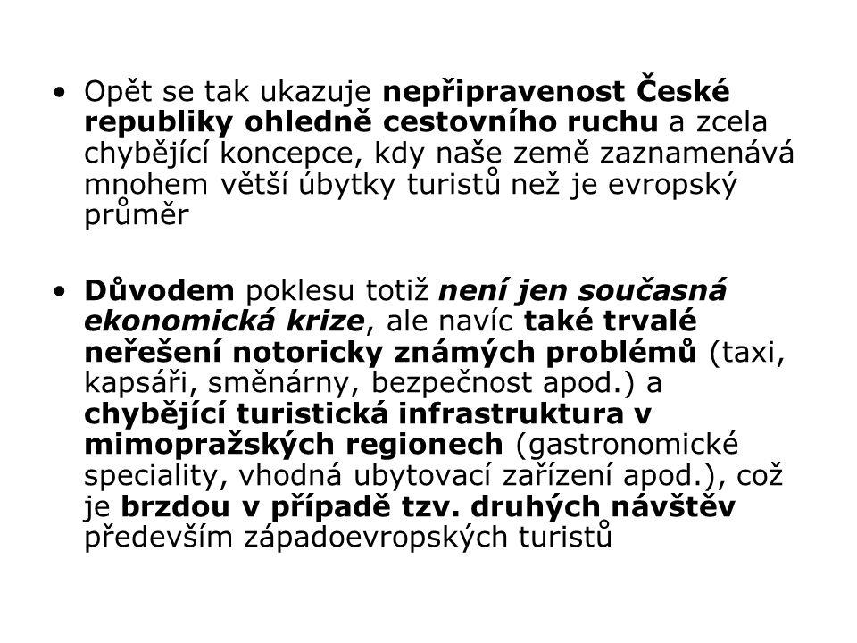 Opět se tak ukazuje nepřipravenost České republiky ohledně cestovního ruchu a zcela chybějící koncepce, kdy naše země zaznamenává mnohem větší úbytky turistů než je evropský průměr