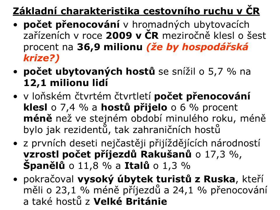 Základní charakteristika cestovního ruchu v ČR