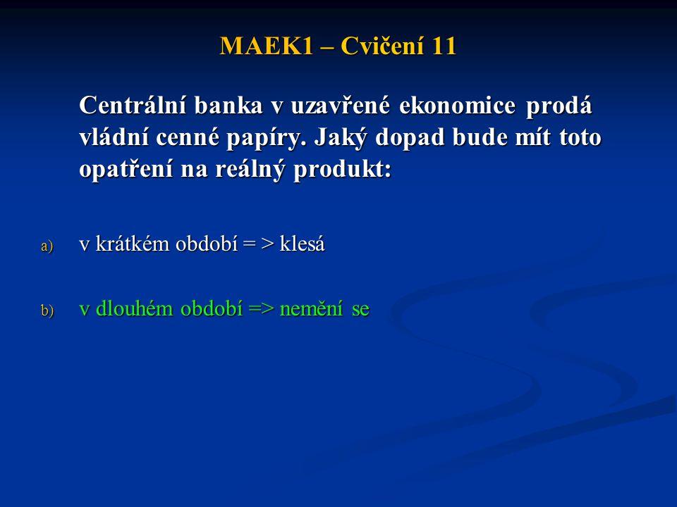 MAEK1 – Cvičení 11 Centrální banka v uzavřené ekonomice prodá vládní cenné papíry. Jaký dopad bude mít toto opatření na reálný produkt: