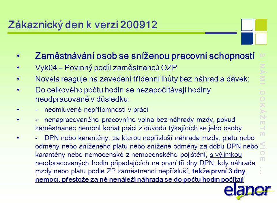 Zákaznický den k verzi 200912 Zaměstnávání osob se sníženou pracovní schopností. Vyk04 – Povinný podíl zaměstnanců OZP.