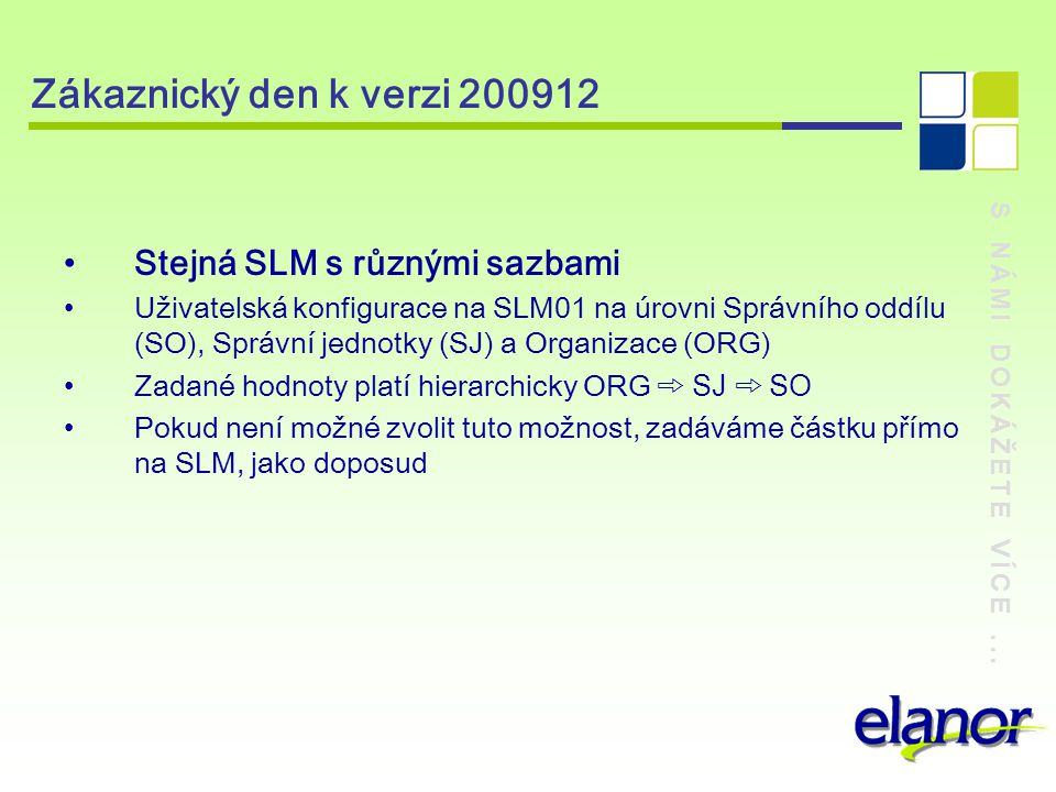 Zákaznický den k verzi 200912 Stejná SLM s různými sazbami