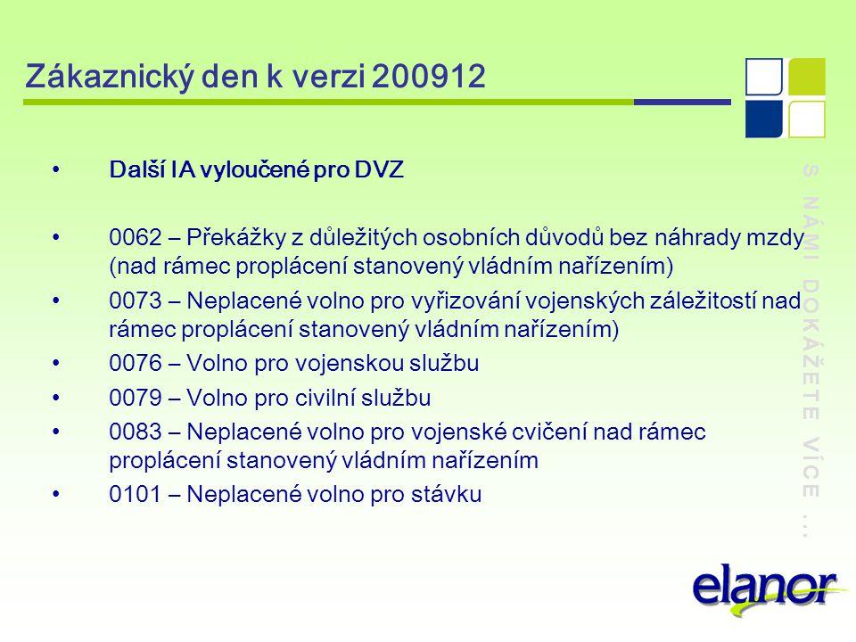 Zákaznický den k verzi 200912 Další IA vyloučené pro DVZ