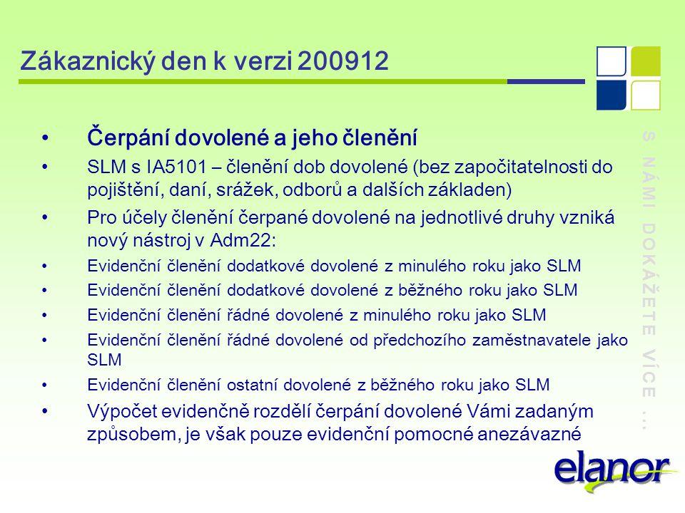 Zákaznický den k verzi 200912 Čerpání dovolené a jeho členění