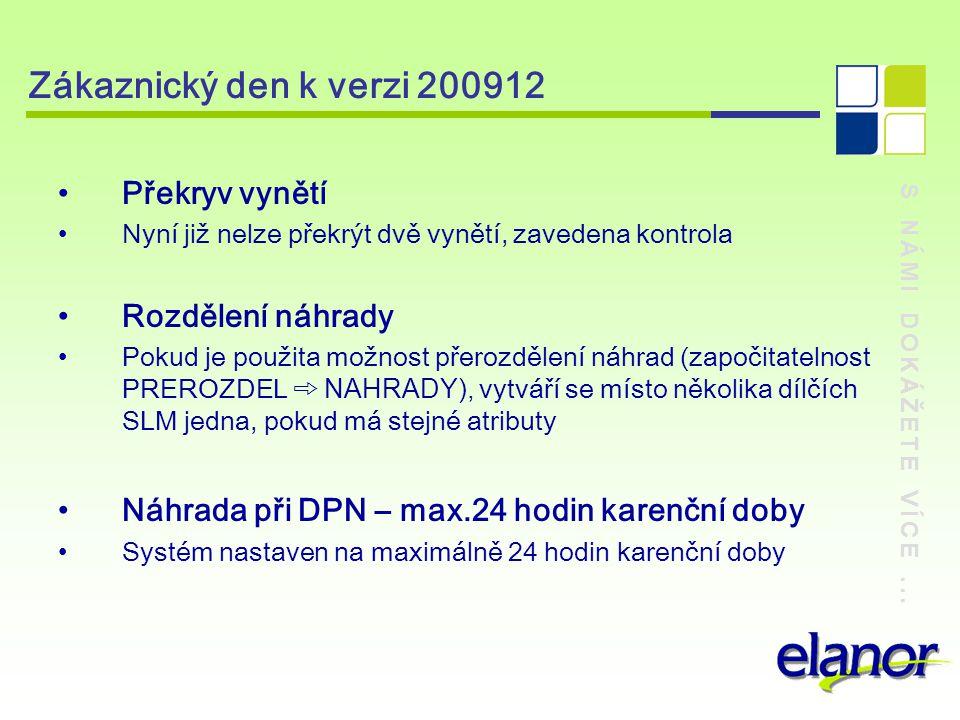 Zákaznický den k verzi 200912 Překryv vynětí Rozdělení náhrady