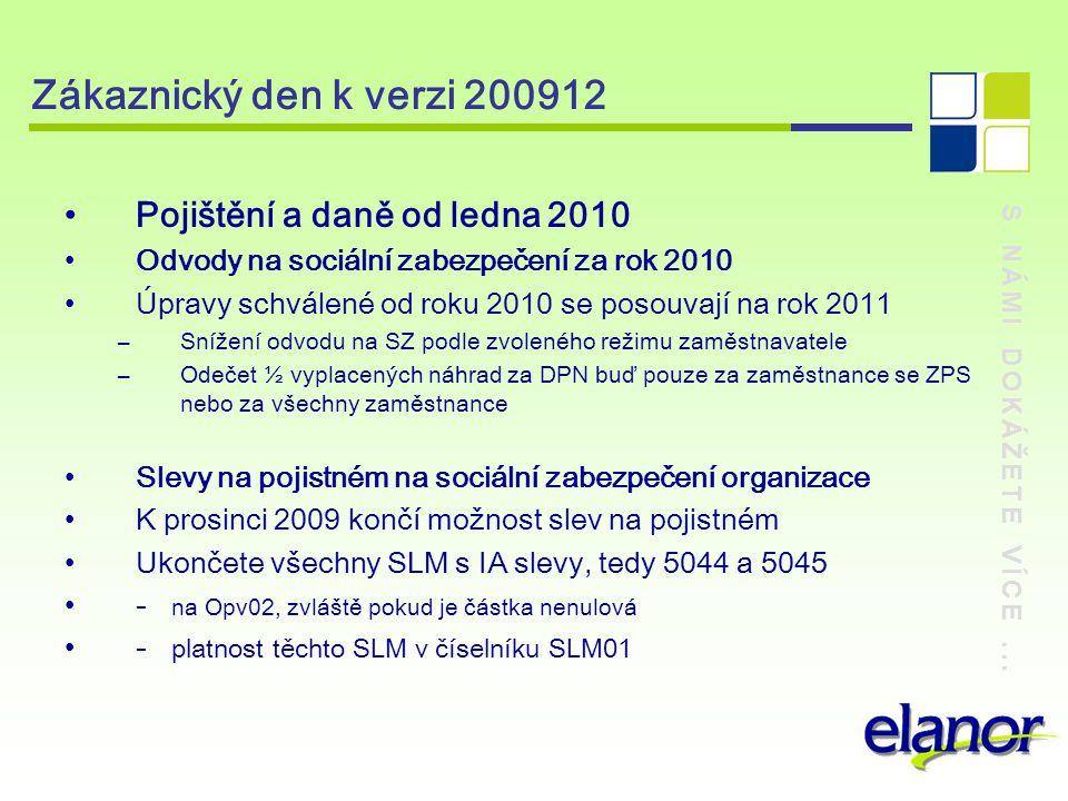 Zákaznický den k verzi 200912 Pojištění a daně od ledna 2010