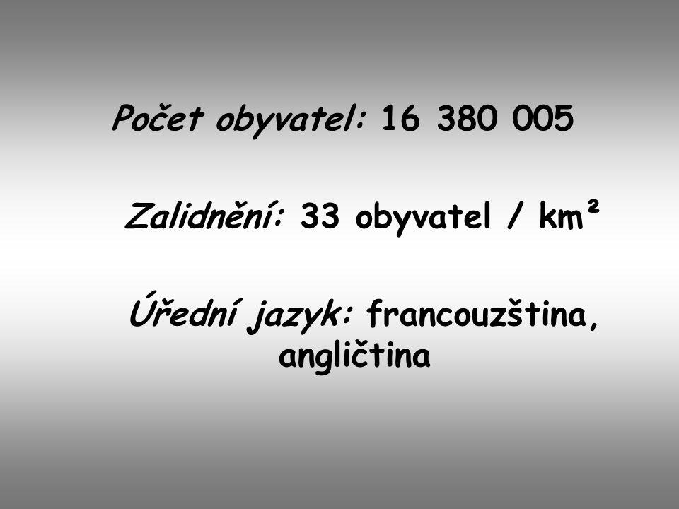 Zalidnění: 33 obyvatel / km² Úřední jazyk: francouzština, angličtina