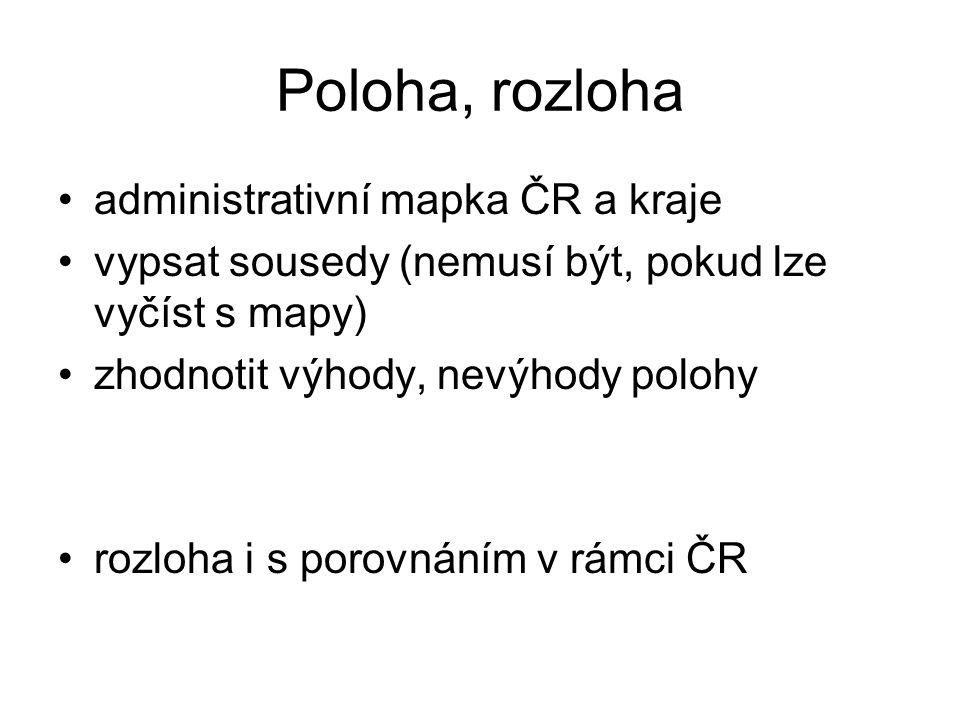 Poloha, rozloha administrativní mapka ČR a kraje