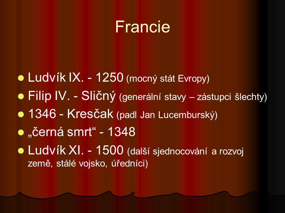 Francie Ludvík IX. - 1250 (mocný stát Evropy)