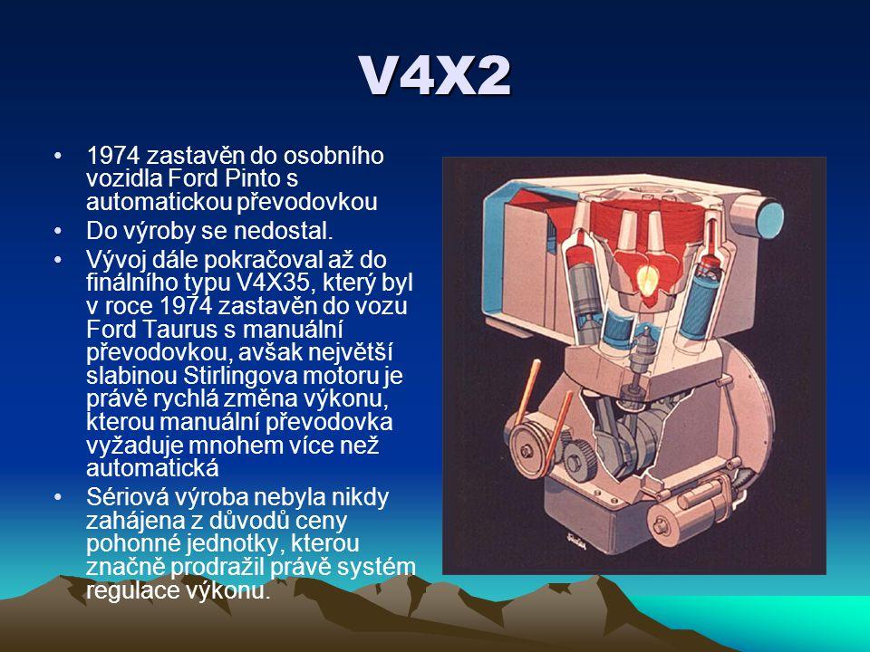 V4X2 1974 zastavěn do osobního vozidla Ford Pinto s automatickou převodovkou. Do výroby se nedostal.