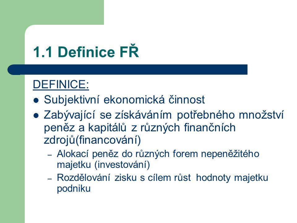1.1 Definice FŘ DEFINICE: Subjektivní ekonomická činnost