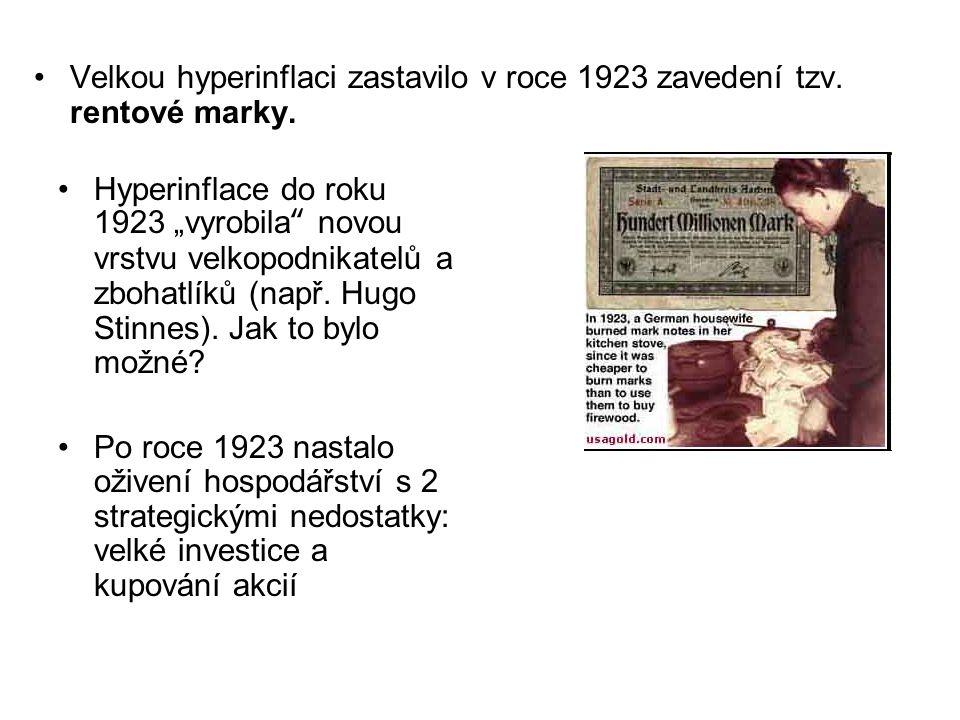 Velkou hyperinflaci zastavilo v roce 1923 zavedení tzv. rentové marky.