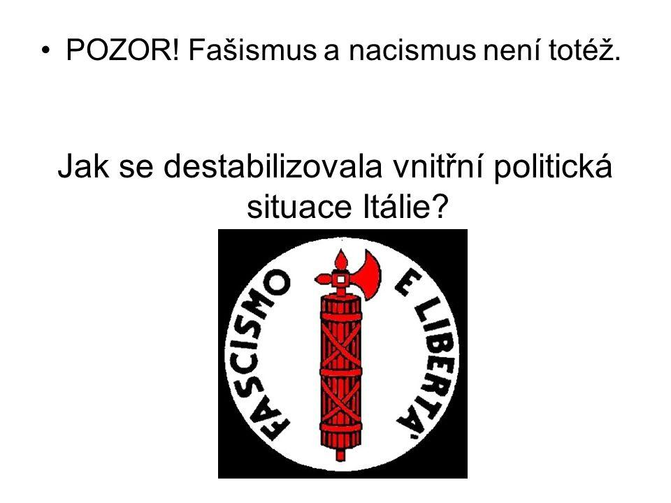 Jak se destabilizovala vnitřní politická situace Itálie