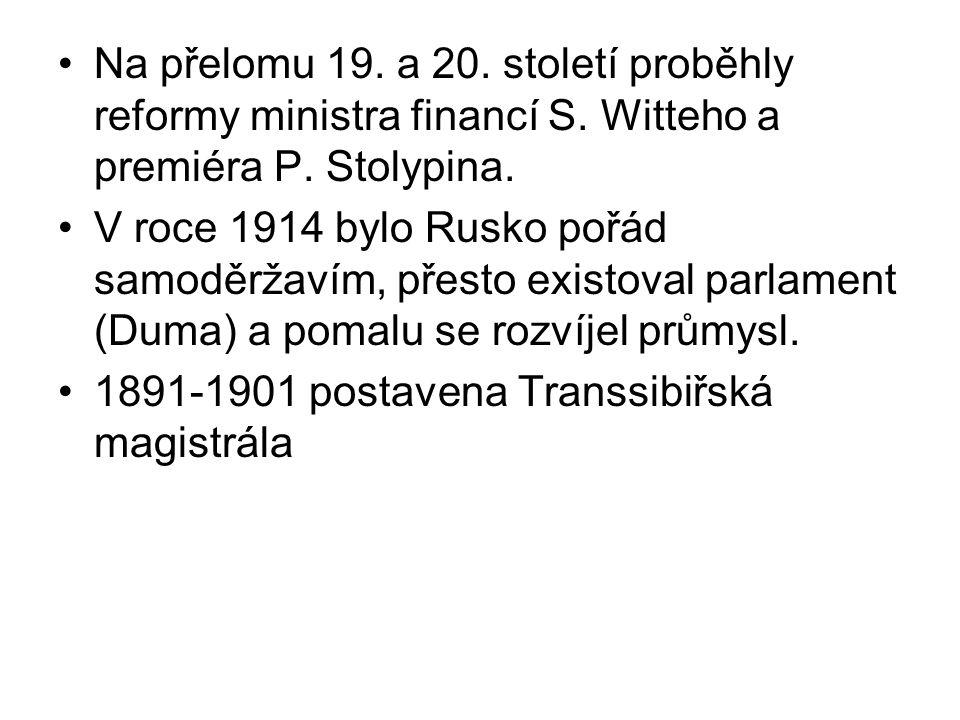 Na přelomu 19. a 20. století proběhly reformy ministra financí S