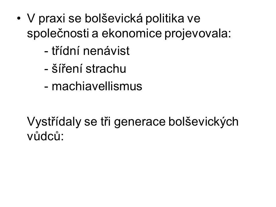 V praxi se bolševická politika ve společnosti a ekonomice projevovala: