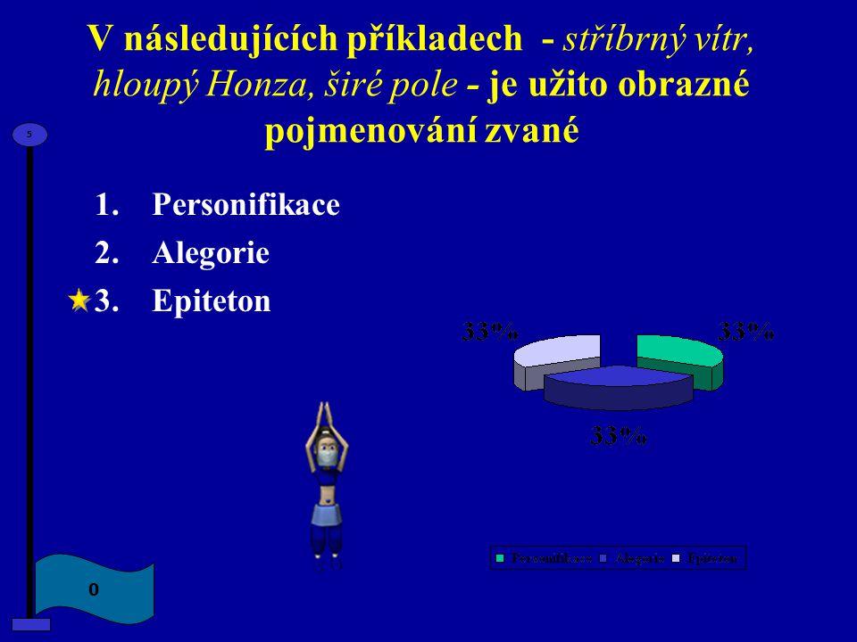 V následujících příkladech - stříbrný vítr, hloupý Honza, širé pole - je užito obrazné pojmenování zvané