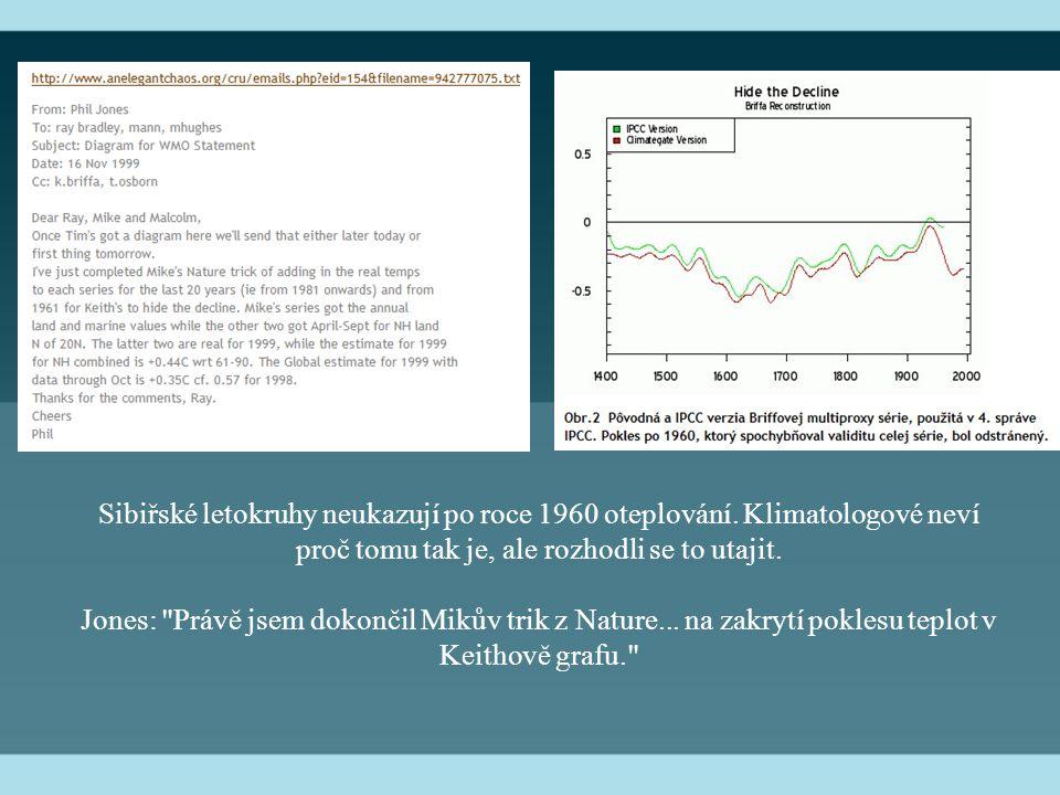 Sibiřské letokruhy neukazují po roce 1960 oteplování