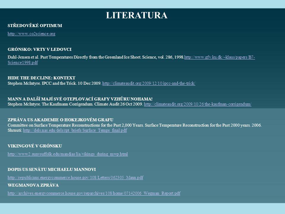 LITERATURA STŘEDOVĚKÉ OPTIMUM http://www.co2science.org