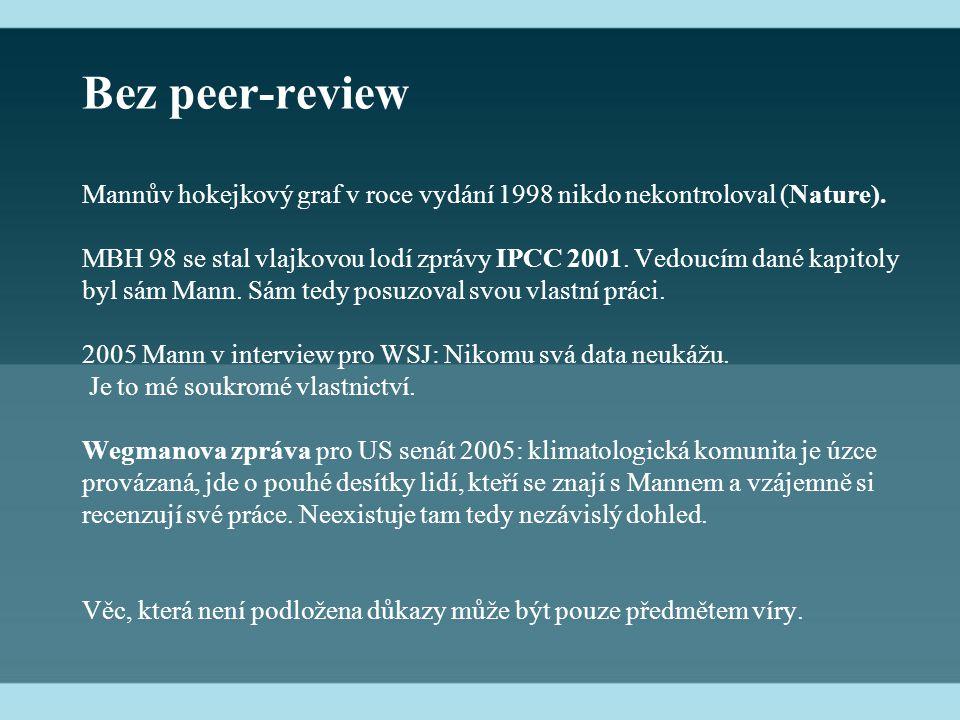 Bez peer-review Mannův hokejkový graf v roce vydání 1998 nikdo nekontroloval (Nature).