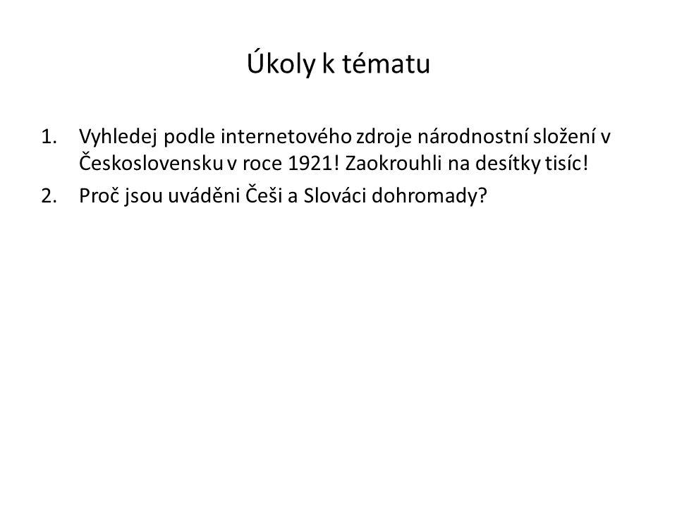 Úkoly k tématu Vyhledej podle internetového zdroje národnostní složení v Československu v roce 1921! Zaokrouhli na desítky tisíc!