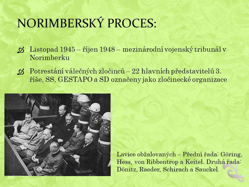 NORIMBERSKÝ PROCES: Listopad 1945 – říjen 1948 – mezinárodní vojenský tribunál v Norimberku.
