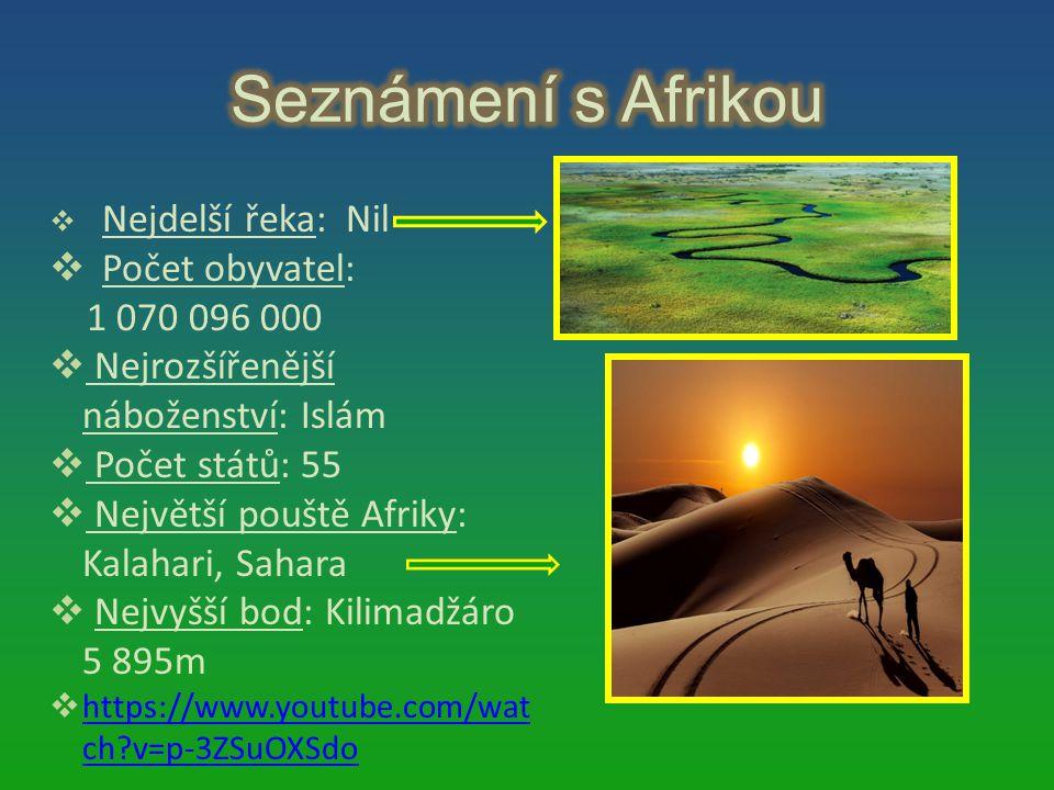 Seznámení s Afrikou Počet obyvatel: 1 070 096 000